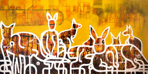 Flash Mob  77x163 cm   SOLD